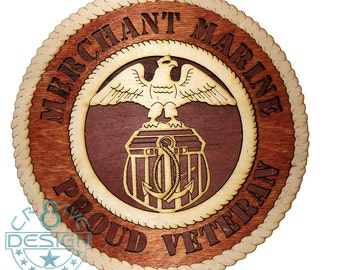 Merchant Marine wooden 10.5 inch plaque
