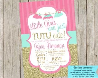 Tutu Baby Shower Invitation Set