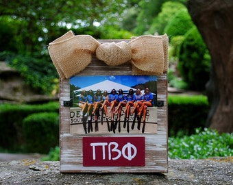 Pi Beta Phi Whitewashed Rustic Frame With Greek Letters