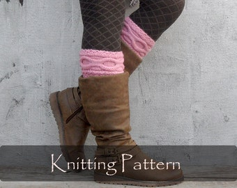 KNITTING PATTERN - Knit Cable Boot Cuffs Pattern Leg Warmers Boot Toppers Knit Pattern Boot Socks Warmers Knit Cable Boots PDF - P0052