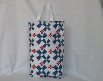 Blue and White Car Trash Bag
