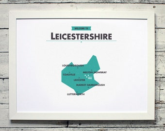 Leicestershire County Map  | # poster, vintage, retro, print