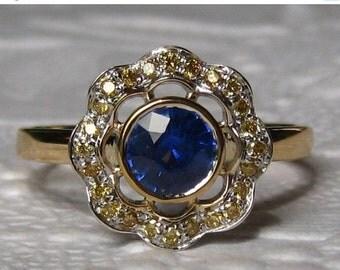 SUMMER SALE... Blue Sapphire Engagement Ring, Cornflower Blue Ceylon Sapphire in Yellow Gold Poppy Ring with Yellow Diamonds
