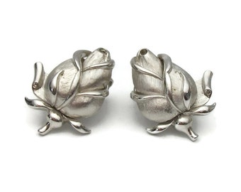 Crown Trifari Silver Tone Rosebud Rose Clip On Earrings - Vintage Floral Flower Clip Ons - Signed Crown Trifari - Costume Jewelry