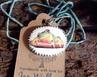 Australian Green Tree Frog -  Handmade Ceramic Brooch