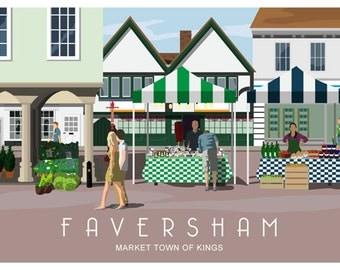 FAVERSHAM MARKET Landscape. Railway Style Poster. A4, A3, A2