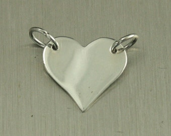 Sterling Silver Stamping Heart Link--Blank Heart Festoon--Heart Connector--Linking Heart--Personalize A Link--Stamp a Heart--Linking Shape