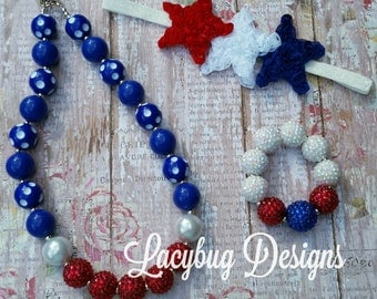 Stars and Stripes Patriotic Red White and Blue Headband, Necklace and Bracelet Set RTS