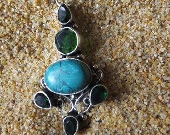 Emerald Green Topaz and Turquoise Pendant with Sterling Silver Chain