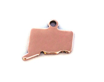 2x Rose Gold Plated Blank Connecticut State Charms - M132-CT