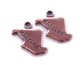 2x Rose Gold Plated Engraved Maryland State Charms - M131-MD