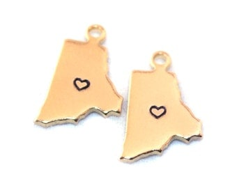 2x Gold Plated Rhode Island State Charms w/ Hearts - M115/H-RI