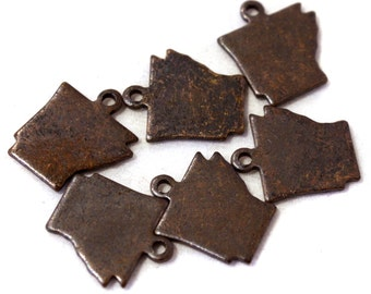 6x Antique Brass / Brown Patina Blank Arkansas State Charms - M073/AB-AR