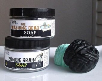 Zombie Party - Zombie Favors, Brain in a Jar, Brain Soap, Mad Scientist Party, Stocking Stuffer, Halloween Party