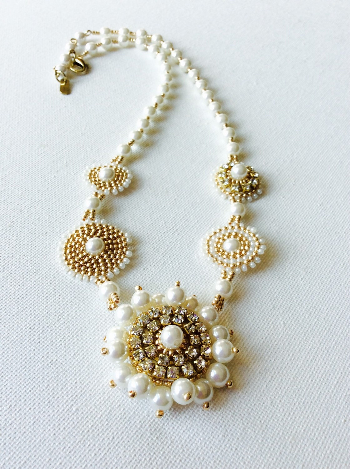 Gold bead embroidered necklace with pearls and rhinestones