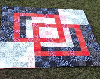 Interlocking Squares Quilt | Black White and Red Quilt | Modern Quilt