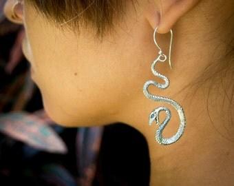 Snake Sterling Silver Earrings, Tribal Silver Earrings, Snake Jewelry, Serpent Earrings, Silver Earrings