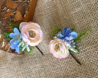Peach wedding hair pins, peach and blue hair pins, peach hair accessory, peach flower hair pins, wedding hair accessory, flower hair pins