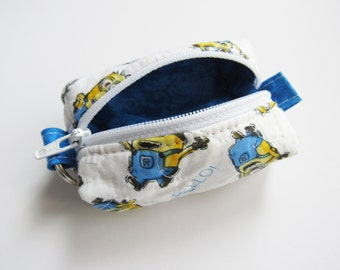 Teeny, Tiny, Miniature Duffle bag. Zipper Pouch, Keychain Pouch, Coin Purse, Keyring, Minions