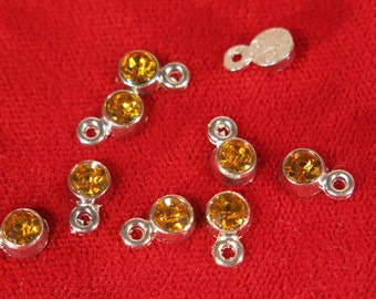 "BULK! 50pc 5mm ""orange topaz"" color charms in antique silver style (BC1114B)"
