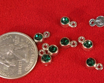 "10pc 5mm ""green emerald"" color charms in antique silver style (BC1116)"