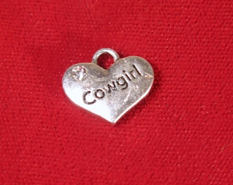 "BULK! 15pc ""Cowgirl"" charms in antique silver style (BC1121B)"