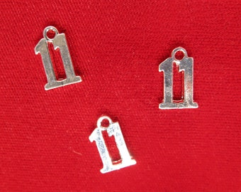 "BULK! 30pc ""11"" charms in silver style (BC942B)"