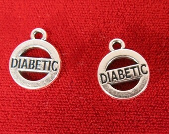 "10pc ""Diabetic"" charms in antique silver (BC977)"