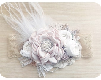 Shabby Chic Headband Birthday Headband Perfect for photoshoot photo props and special occasions Baby Headband Girls Headband Wedding Hair