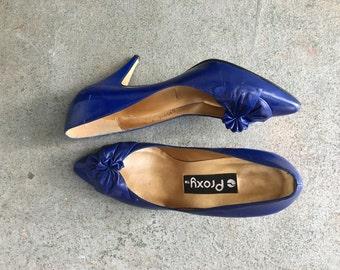 1980's Heels/ 80s High Heels/ 1980's/ Dark Blue High Heels/ Medium Heel/ Size 7