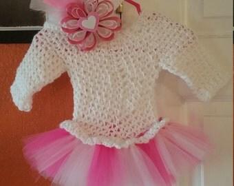 crochet tutu dress and headband