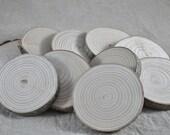 10 rondelles 7.5 cm en bois brut - frêne