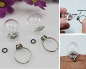 20MM/20X12MM Screw Glass Globe Ring (adjustable),glass bottle ring ,glass bubble Ring,Glass ball rings