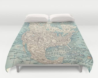 Map of North America Duvet Cover or Comforter - bold,  bed - bedroom, travel decor, cozy soft, pastel, winter, warm, wanderlust