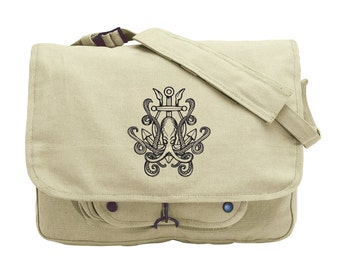 Release the Kraken Embroidered Canvas Messenger Bag