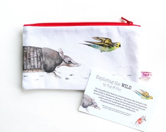 Exploring The Wild Pencil Case // stationary, wild, budgie, mouse, armadillo