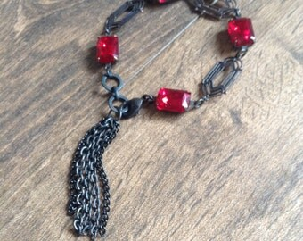 Glamourous Black Brass and Ruby Red Rhinestone Chain Tassel Bracelet