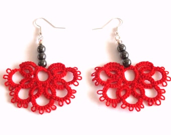Red Tatted Earrings with Hematite Beads, Half Flower Tatted Lace Earrings, Red Flower Tatting Earrings, Lace Earrings with Hematite Pearls