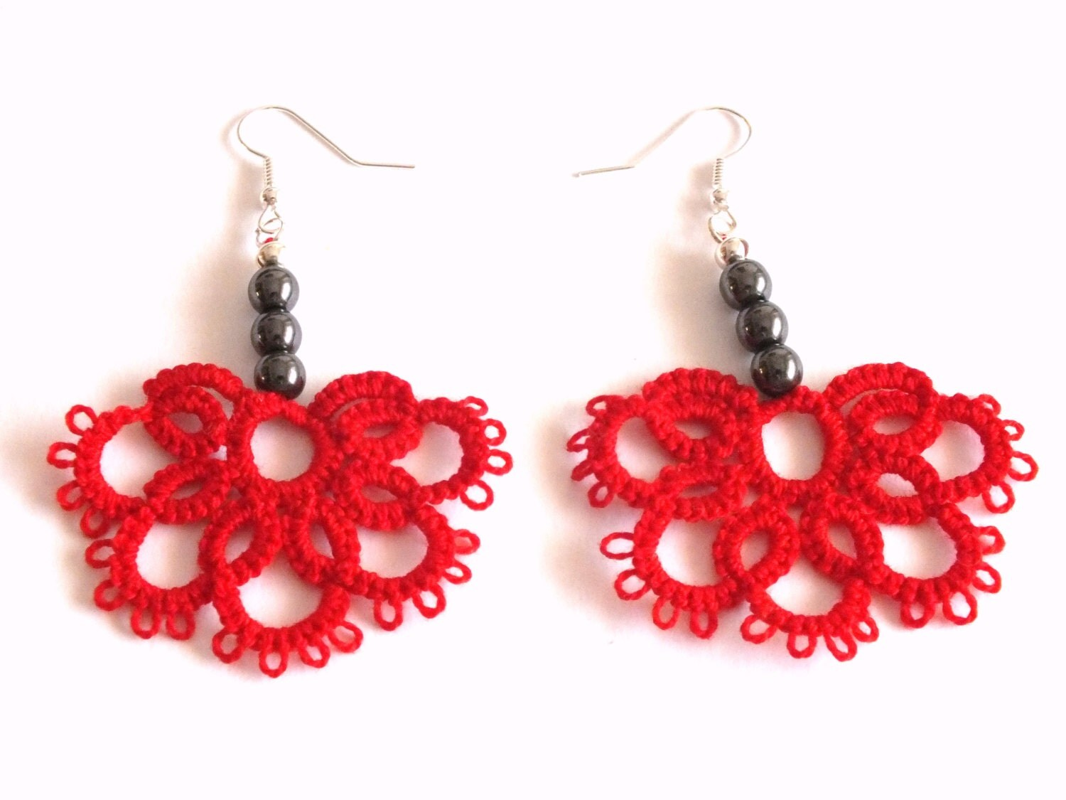 Red Hematite Beads Red Tatted Earr...