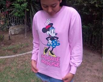 Minnie mouse sweat shirt,pink,medium