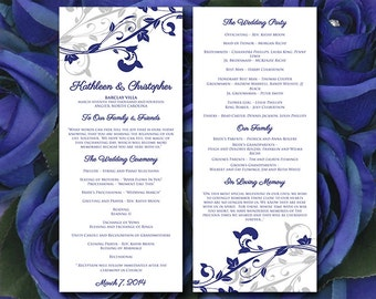"Printable Wedding Program Template - Silver Navy Wedding Program ""Whimsical Vines"" Ceremony Program Instant Download - DIY Wedding Template"