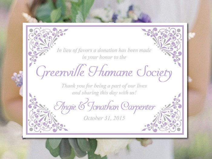 Wedding Gift Bag Template : Wedding Favor Donation Card Template Lilac by PaintTheDayDesigns