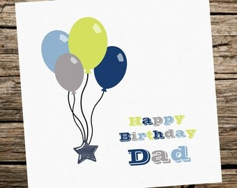 Personalised Birthday Card - Male/Man/Boy -Dad Brother Uncle Son Nephew....Balloons