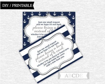 Instant Download Grey and Dark Navy Nautical Baby Shower Party Book request cards Baby shower DIY Printable (PDNMO020)