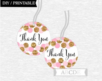 Instant Download Pink Glitter Gold Polka Dots Thank You tags Birthday party Baby shower DIY Printable (CON201)