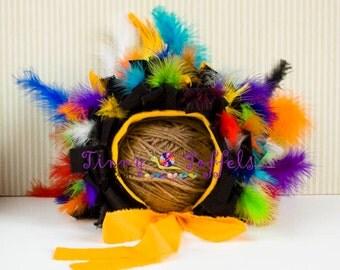 SALE Bird of Paradise Bonnet, 6-12mths, photographie prop, *UK seller*, feather bonnet, accessoir photo, chapeau oiseau, handmade photo prop