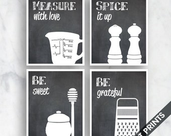 Funny Kitchen Art Print Set (Measure, Spice, Sweet, Grater) Set of 4 - Art Prints (Featured in Chalkboard) Kitchen Quotes