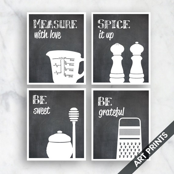 Funny kitchen art print set measure spice sweet grater for Funny kitchen set