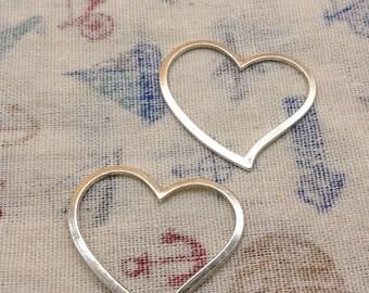 20pcs 30x40mm Antique Silver Lovely Heart Charm Pendants