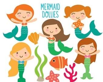 Clipart LOVE SALE Mermaid Clipart - Sea Creatures Clipart - Ocean Clipart, Sea Animals, Kawaii Clip art